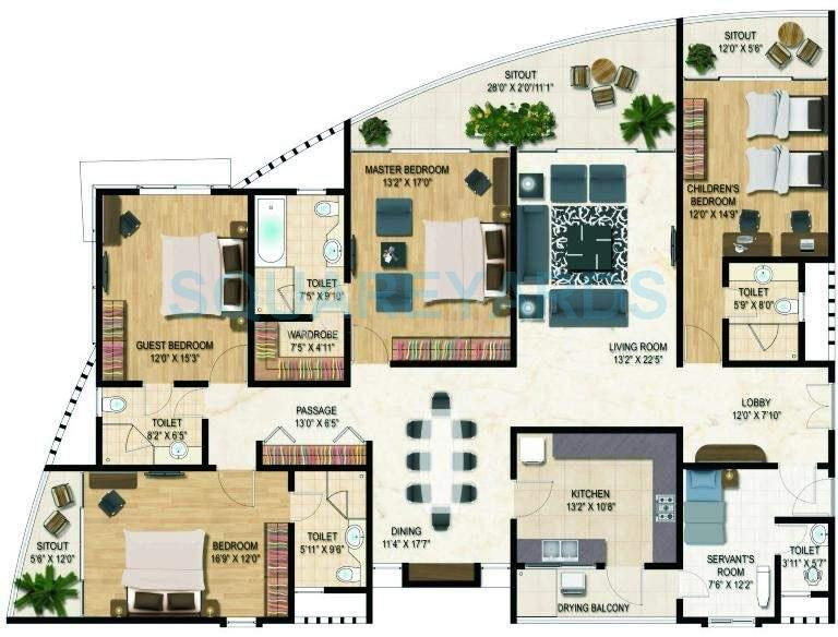 4 bhk 3000 sq ft apartment for sale in clover palisades for 3000 sq ft apartment floor plan