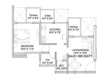 dynamic linea apartment 1bhk 690sqft 1