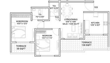 dynamic linea apartment 2bhk 1035sqft 1