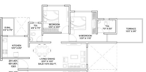 dynamic linea apartment 2bhk 1075sqft 1