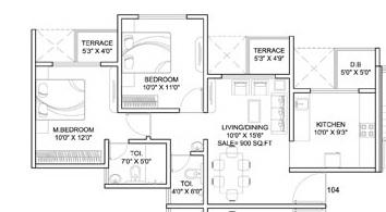 dynamic linea apartment 2bhk 900sqft 1