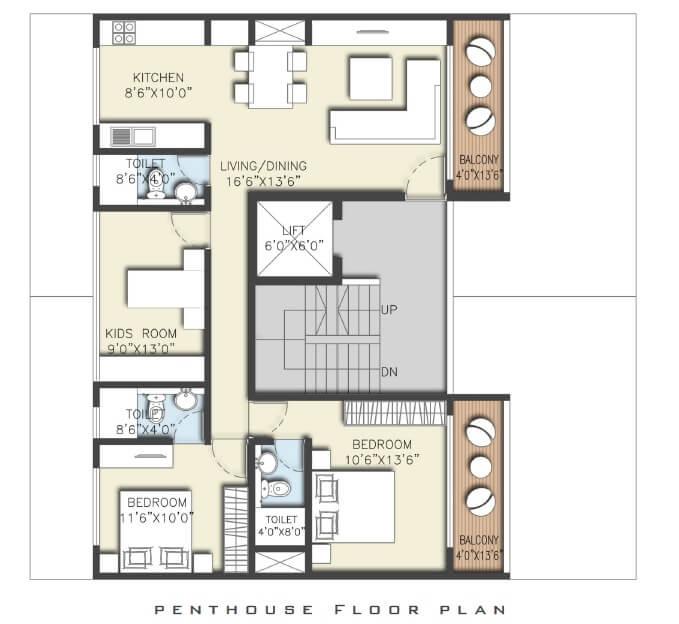 expat sereno lake homes penthouse 2bhk 1400sqft 1