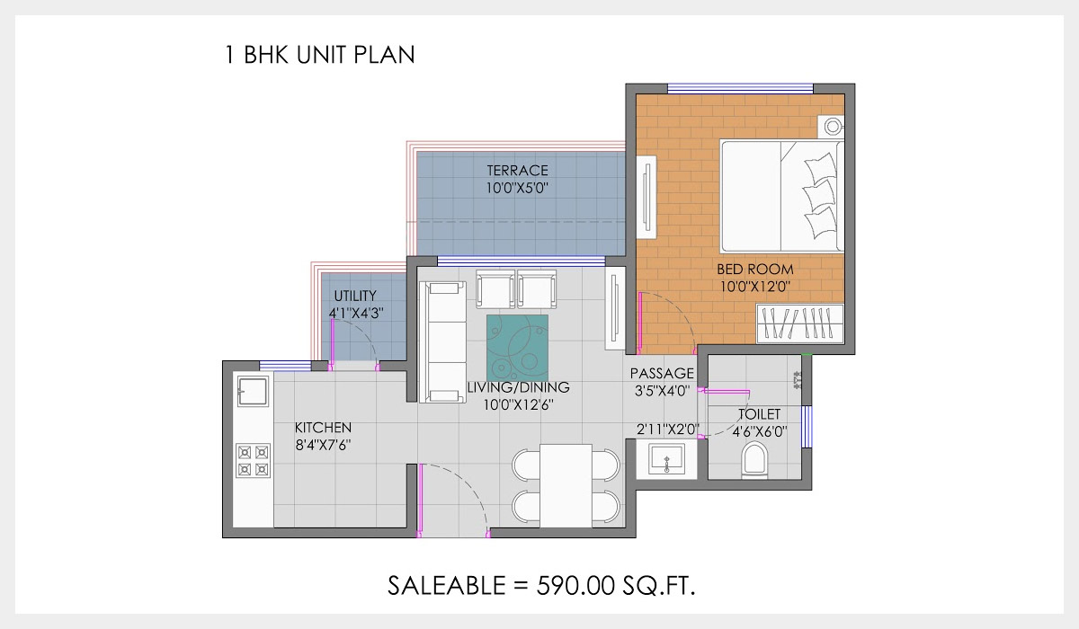 ganga new town apartment 1bhk 590sqft 1
