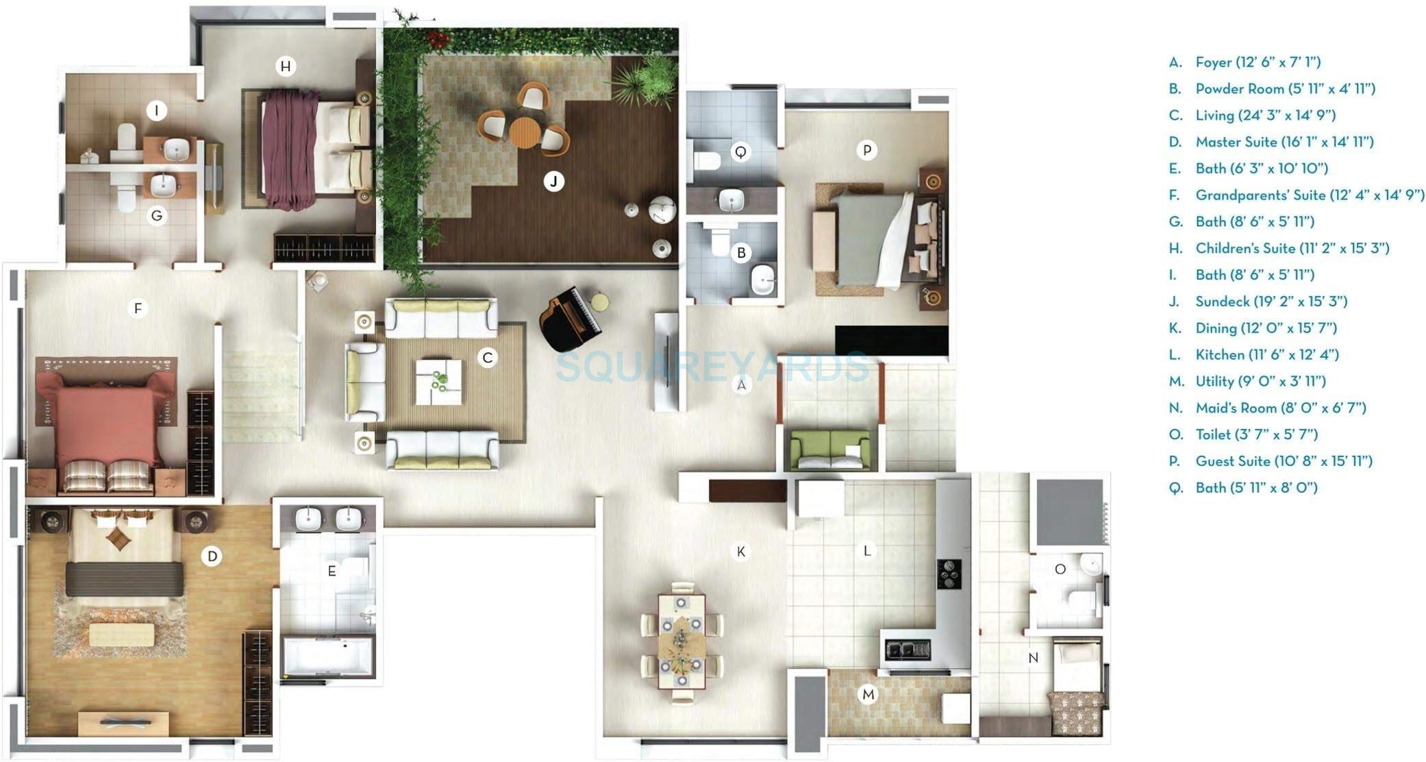 gera verbena high rise apartment 4bhk 3100sqft 10355