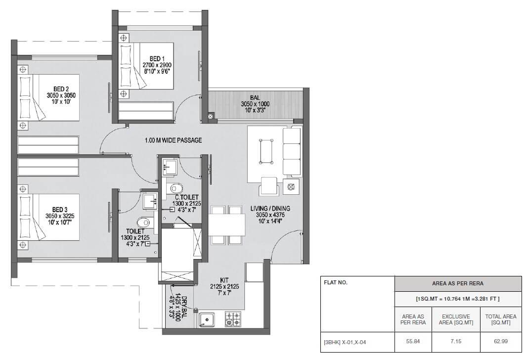 godrej central park apartment 3bhk 601sqft 1