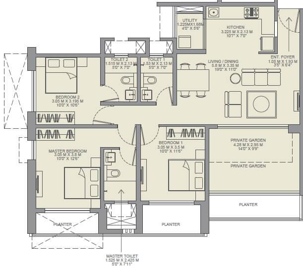godrej rejuve apartment 3bhk 873sqft 1