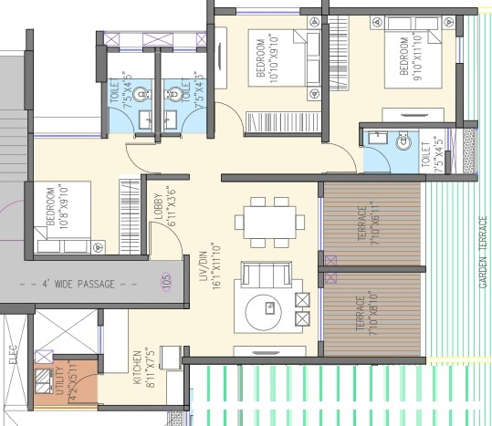 goel ganga aria apartment 3 bhk 929sqft 20201508121512