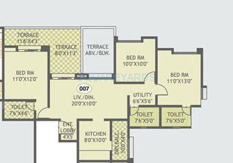 gurdian hill shire apartment 3bhk 1360sqft 1