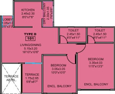 kohinoor coral phase 3 apartment 2 bhk 639sqft 20213130173143