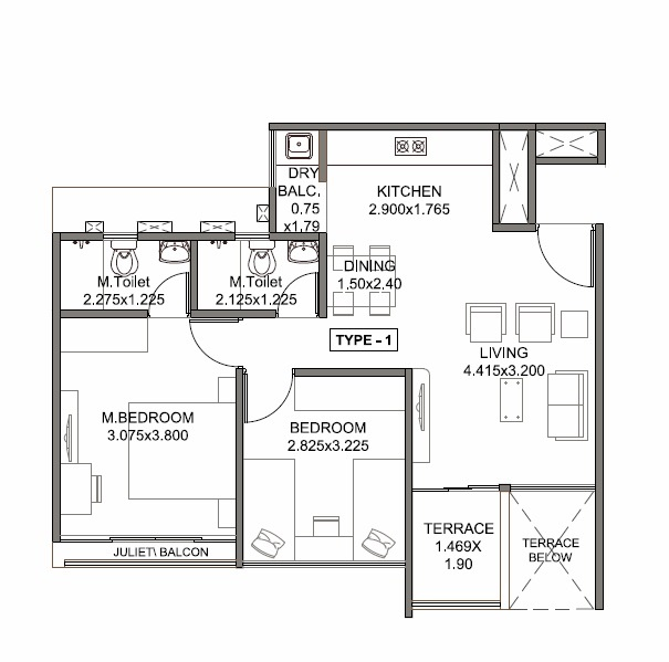kohinoor tinsel county apartment 2 bhk 506sqft 20214506164545