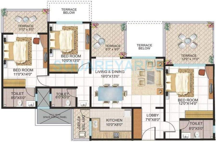 kolte patil downtown apartment 3bhk 1510sqft 10091