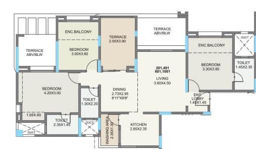 kolte patil green olive apartment 3 bhk 1126sqft 20213610173608