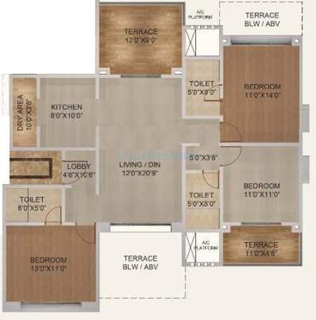 kolte patil langston apartment 3bhk 1539sqft 10001