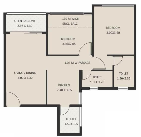kolte patil life republic 16th avenue arezo apartment 2bhk 701sqft 1