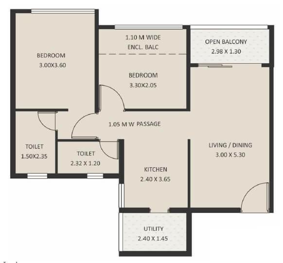 kolte patil life republic 16th avenue arezo apartment 2bhk 709sqft 1