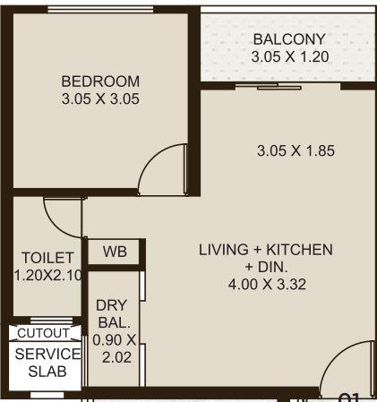 kolte patil life republic apartment 1bhk 430sqft 321