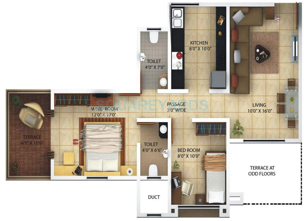 kolte patil margosa heights apartment 2bhk 785sqft 11701