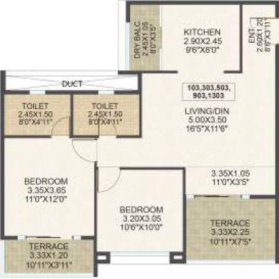 kolte patil wakad apartment 2bhk 1135sqft1