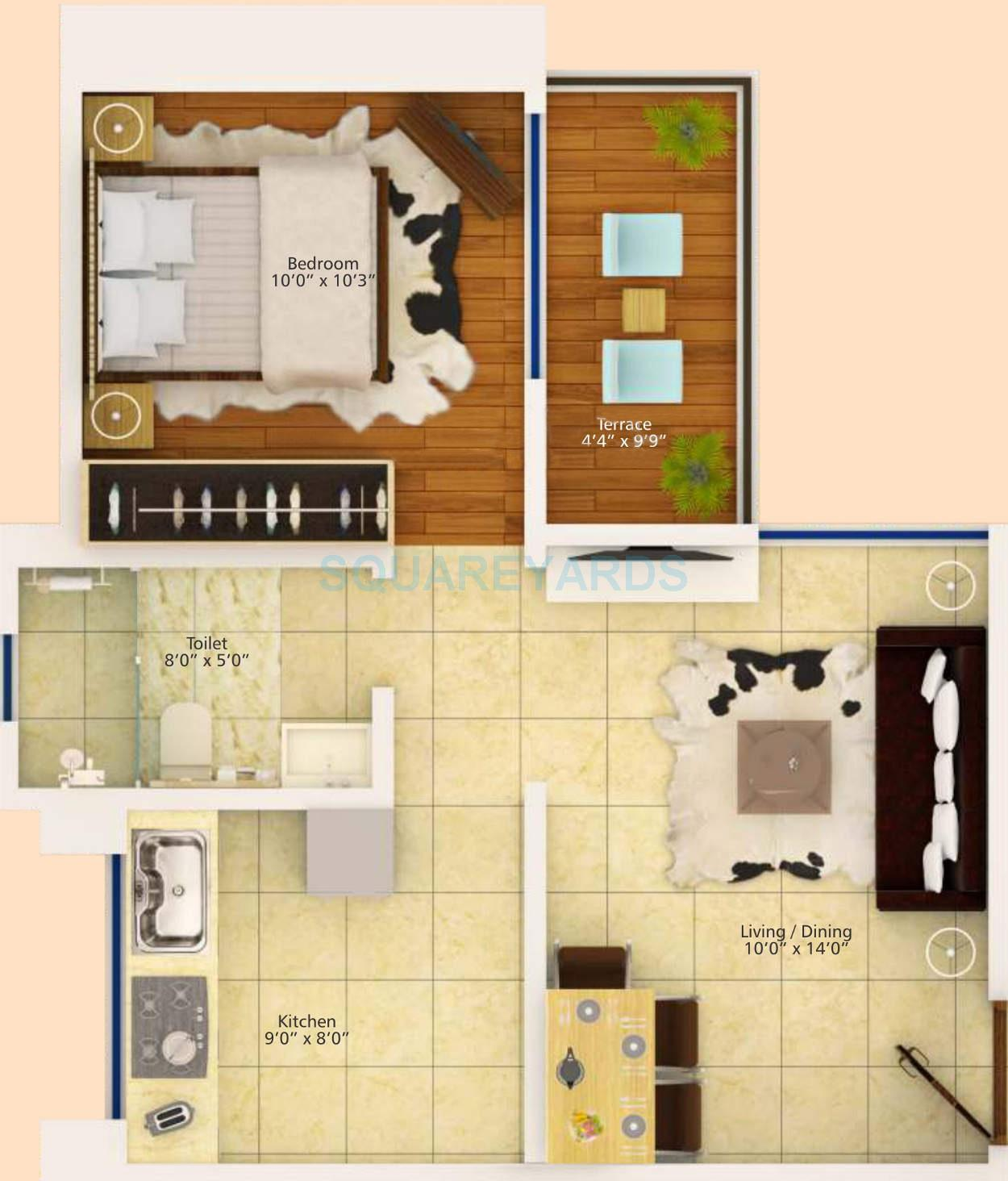 Uncategorized 560 Sq Ft 1 bhk 560 sq ft apartment for sale in konark krish 2 at rs floor plan