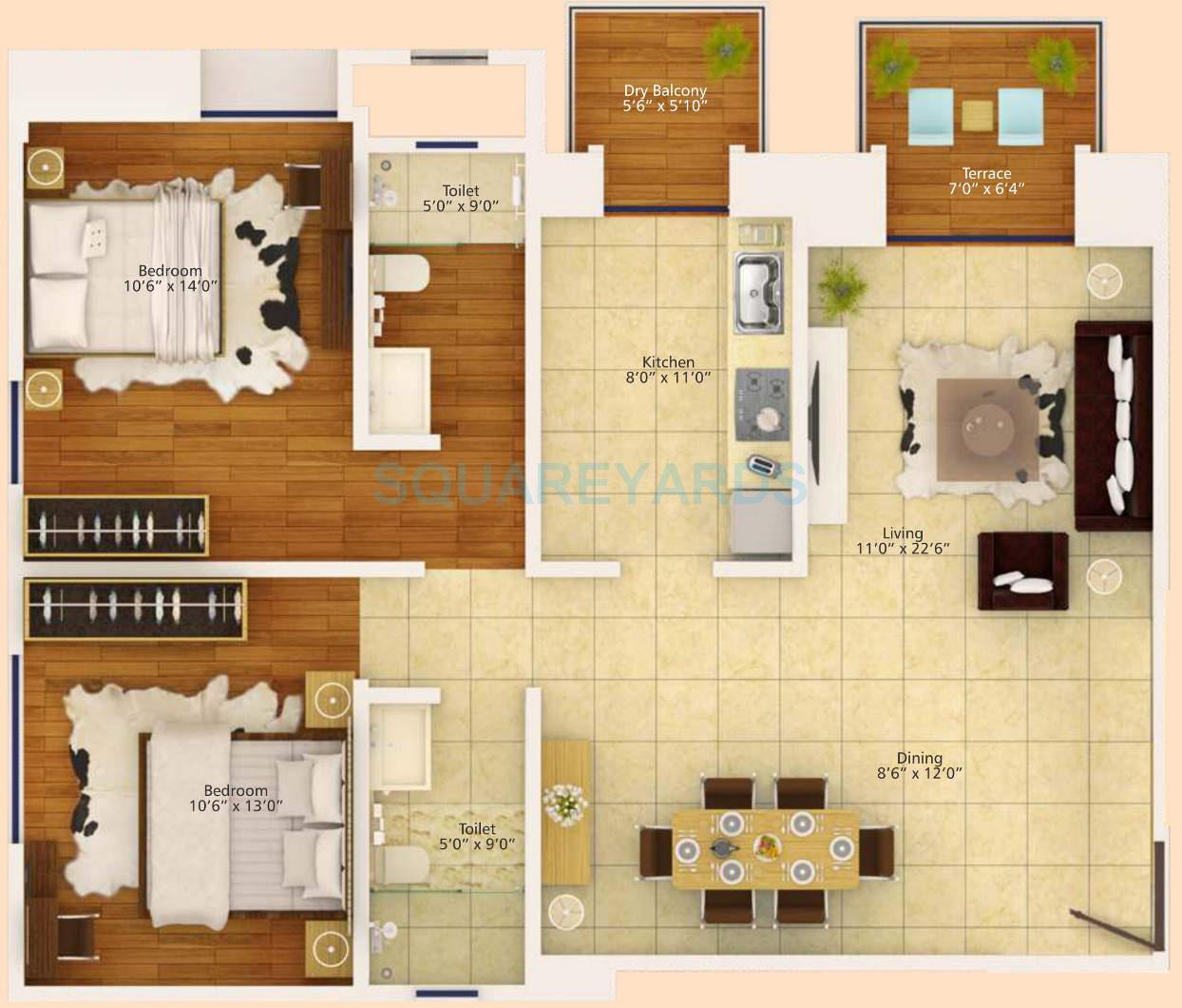 1 BHK 560 Sq. Ft. Apartment Floor Plan