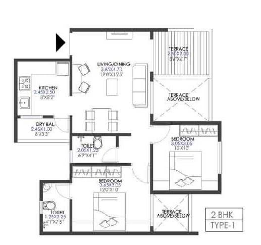 krisala 41 elite 2 apartment 2 bhk 687sqft 20213829123827