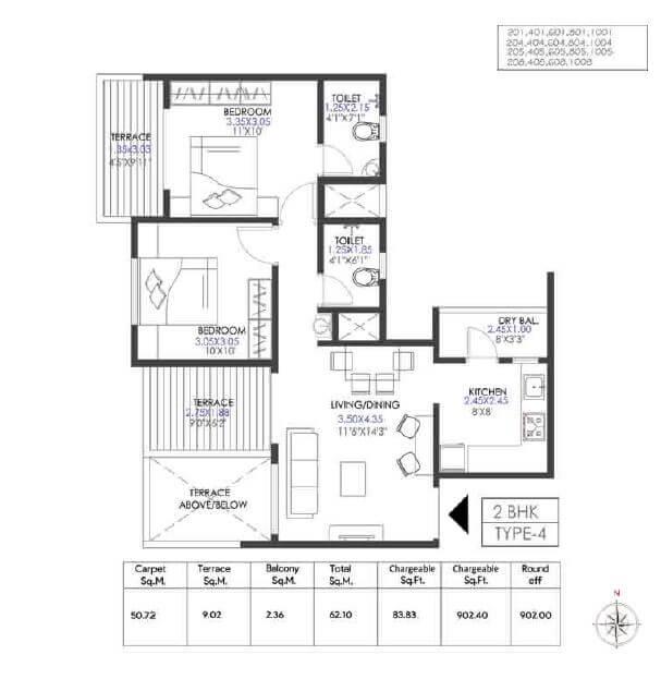 krisala 41 elite 2 apartment 2bhk 545sqft 1