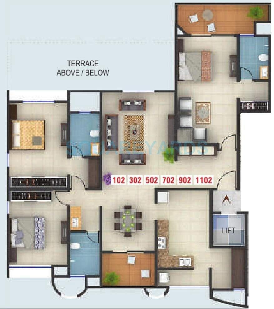 kumar karishma apartment 3bhk 2132sqft 10609