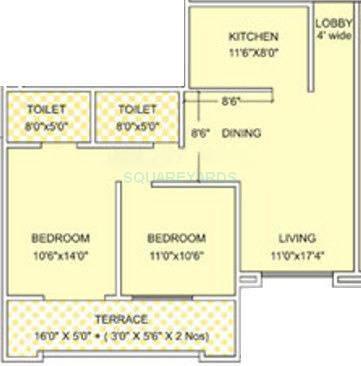 kumar palmgrove apartment 2bhk 955sqft 11610