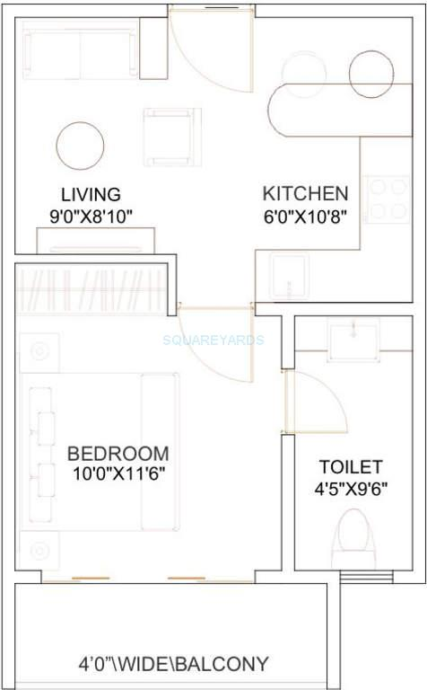 1 bhk 350 sq ft apartment floor plan - 350 Sq Ft Floor Plan