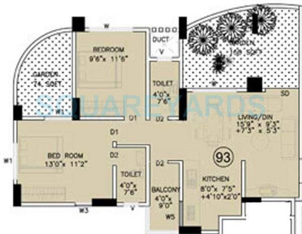 kumar urban shantiniketan phase ii apartment 2bhk 995sqft 11353