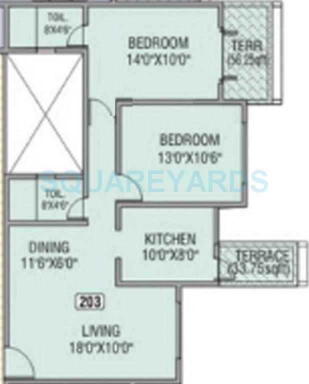 kundan spaces heritage apartment 2bhk 1028sqft1