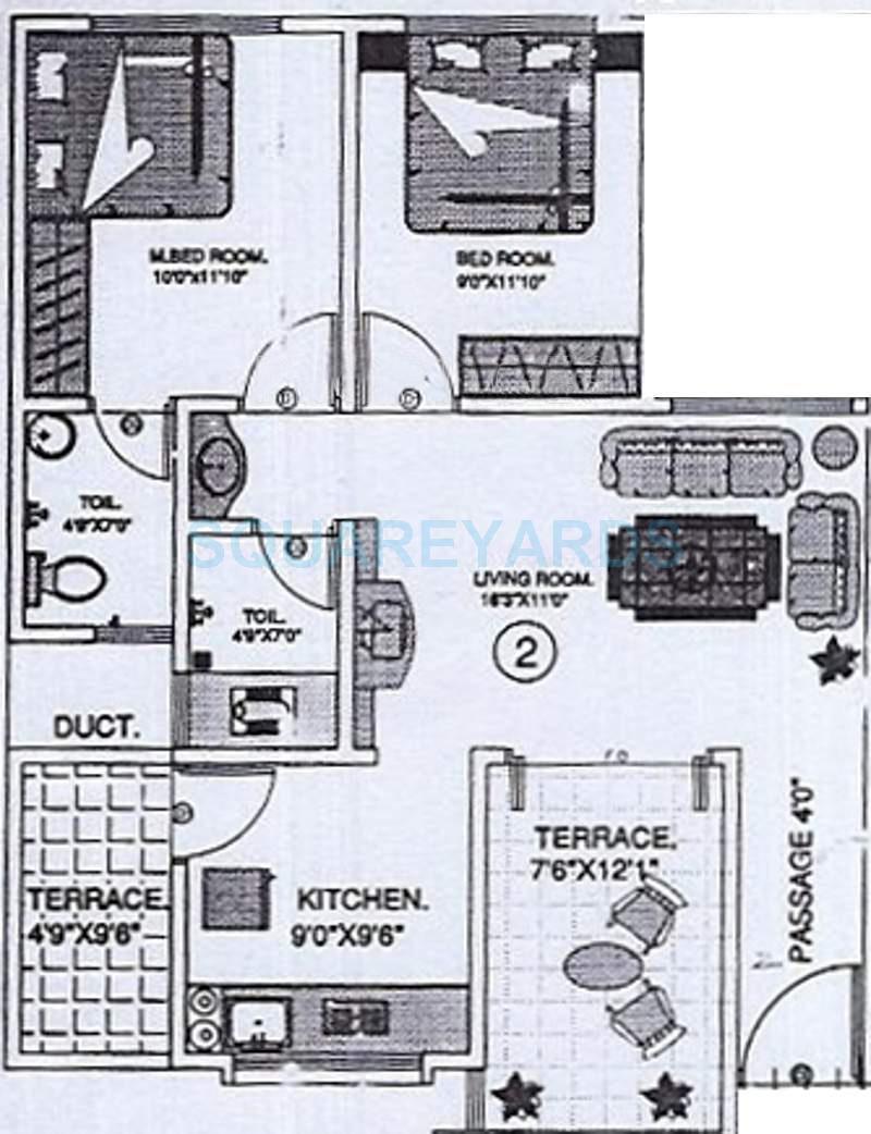 kundan spaces house apartment 2bhk 1083sqft 11513