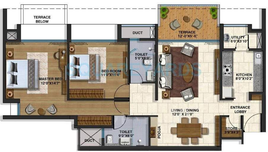 lodha belmondo apartment 2bhk 1341sqft 9600
