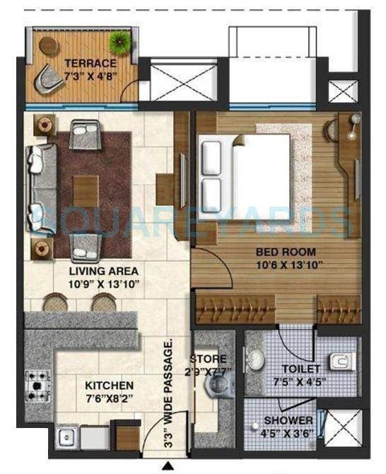 lodha springwood apartment 1bhk 684sqft 10409