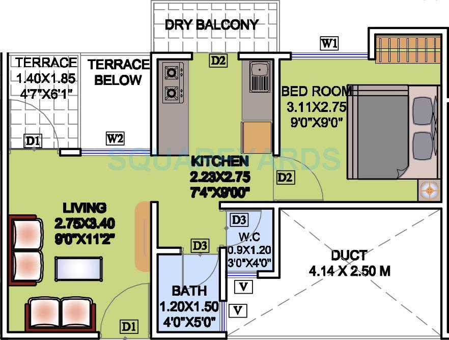 mantra magic apartment 1bhk 513sqft 9615