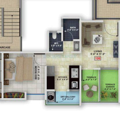 mantra residency apartment 1bhk 675sqft1