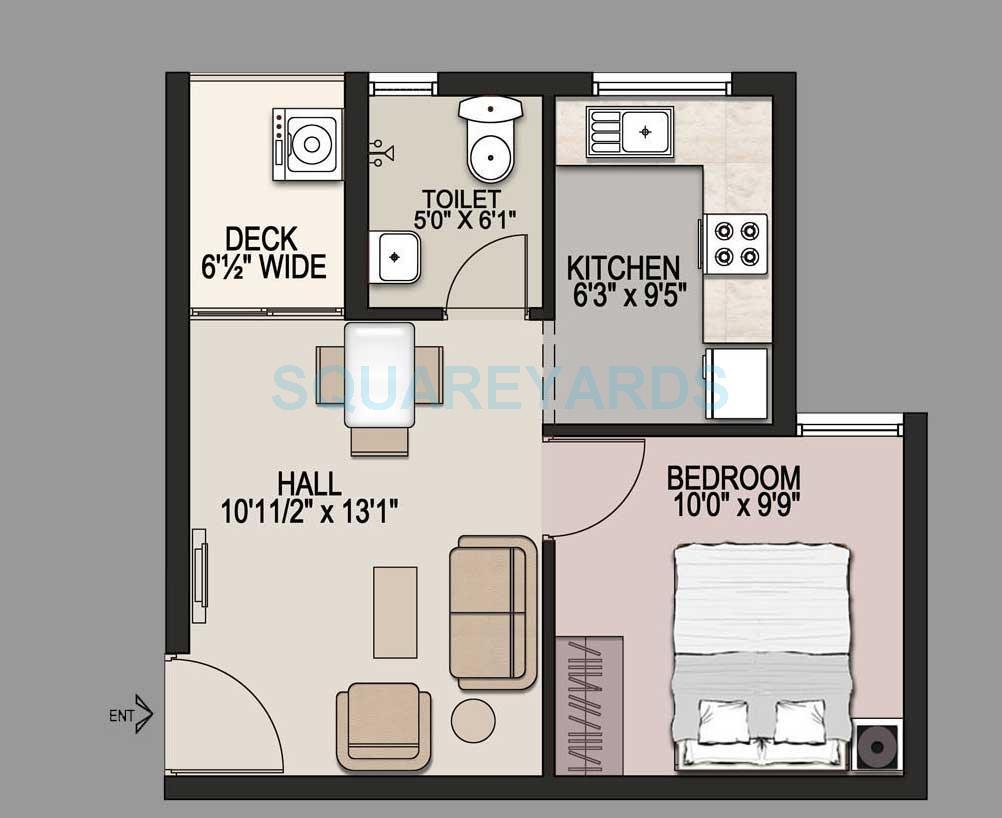 mantri market apartment 1bhk 500sqft1