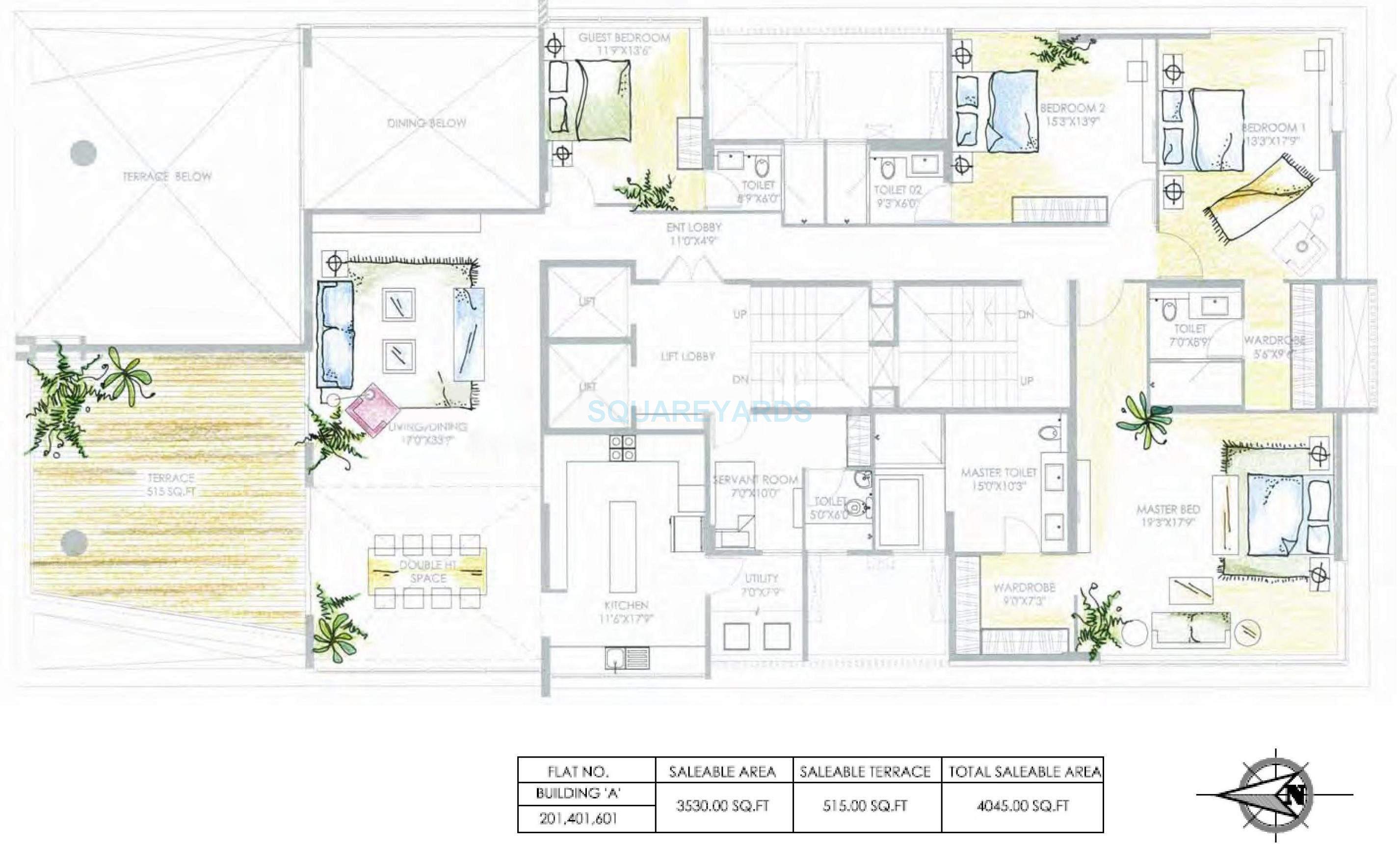 marvel aeries apartment 4bhk 4045sqft 10385