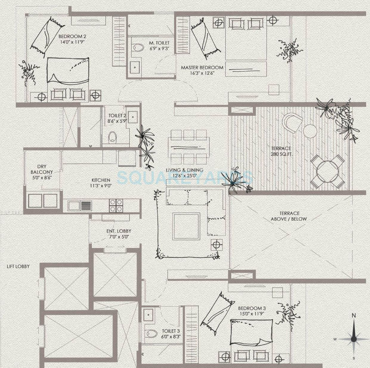 marvel basilo apartment 3bhk 1945sqft 10143