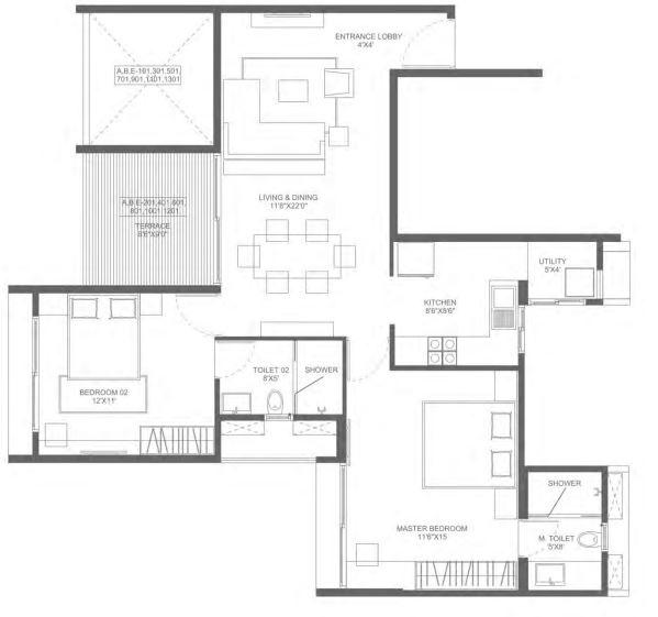 marvel ideal spacio apartment 2bhk 1095sqft 1