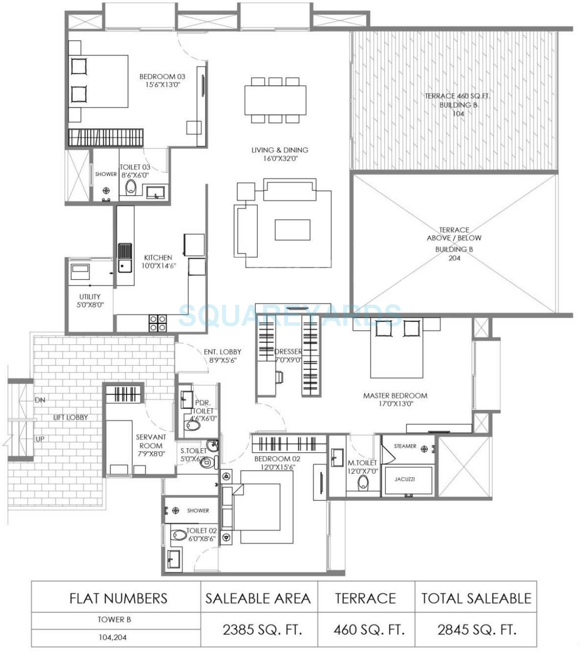 marvel piazza apartment 3bhk 2845sqft 10256