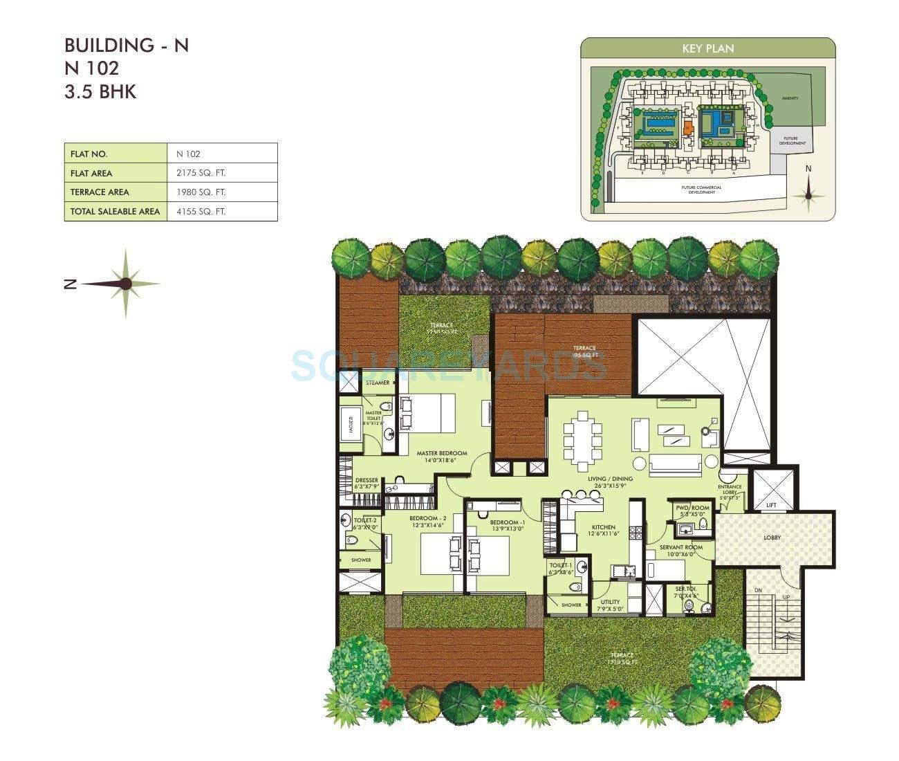 marvel sangria apartment 3bhk 4155sqft 10557