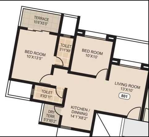 mittal sun sapphire apartment 2 bhk 677sqft 20204229174246