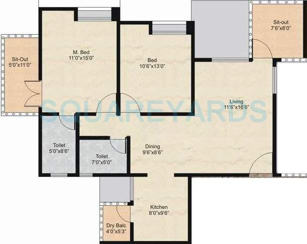 nyati environ apartment 2bhk 1193sqft 11586