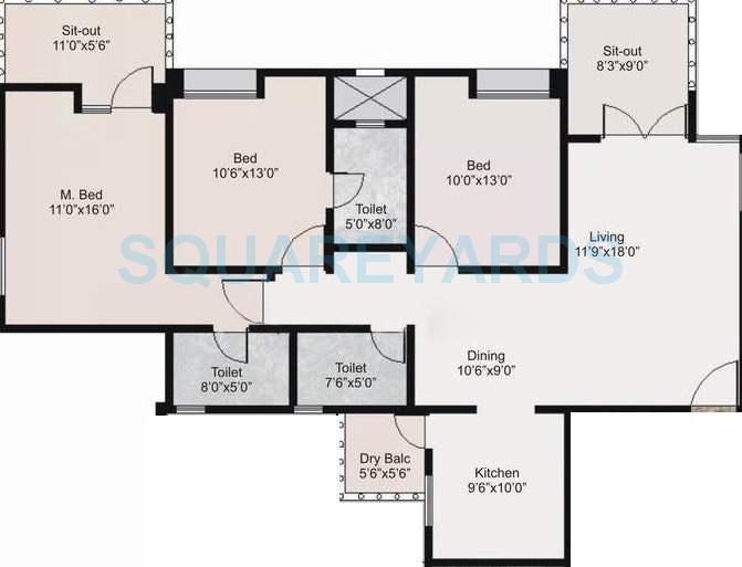 nyati environ apartment 3bhk 1420sqft 11588