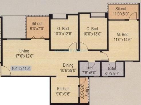 nyati iris apartment 3bhk 1385sqft 1
