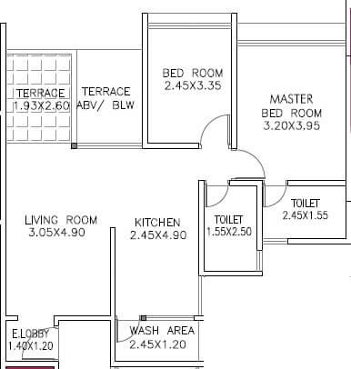oxford paradise apartment 2bhk 592sqft 1