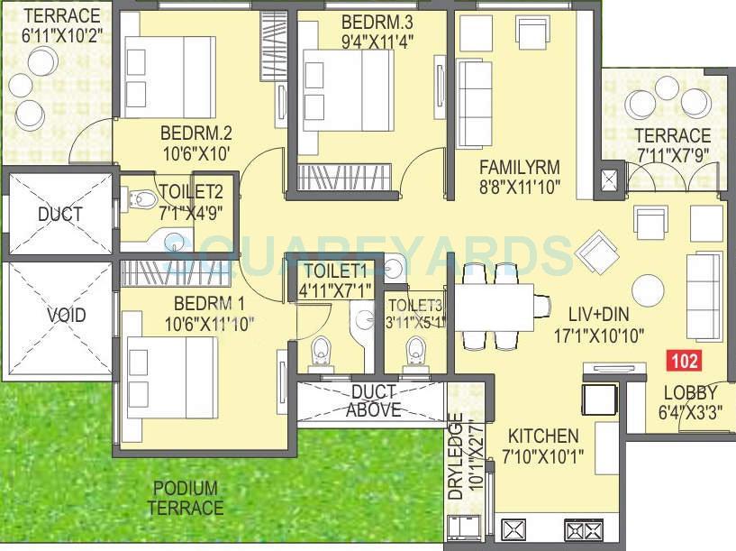 paranjape schemes abhiruchi parisar apartment 3bhk 1231sqft 10342