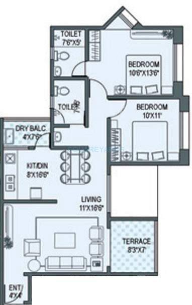 paranjape schemes gloria grace apartment 2bhk 994sqft 11389