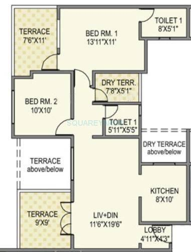 paranjape schemes madhukosh apartment 2bhk 934sqft 11748